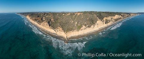 Aerial Panoramic Photo of Torrey Pines, Flat Rock, Torrey Pines State Reserve, San Diego, California