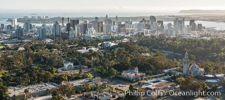 Aerial photo of Balboa Park and Downtown San Diego