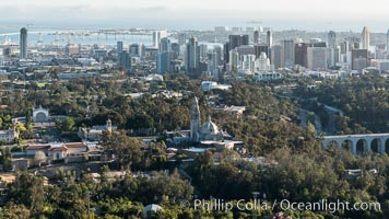 Aerial photo of Balboa Park and Downtown San Diego, natural history stock photograph, photo id 30772