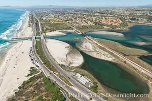Aerial photo of Batiquitos Lagoon, Carlsbad. The Batiquitos Lagoon is a coastal wetland in southern Carlsbad, California. Part of the lagoon is designated as the Batiquitos Lagoon State Marine Conservation Area, run by the California Department of Fish and Game as a nature reserve. Carlsbad, Callifornia, USA, natural history stock photograph, photo id 30557