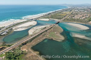Aerial photo of Batiquitos Lagoon, Carlsbad. The Batiquitos Lagoon is a coastal wetland in southern Carlsbad, California. Part of the lagoon is designated as the Batiquitos Lagoon State Marine Conservation Area, run by the California Department of Fish and Game as a nature reserve