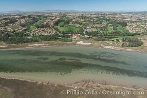 Aerial photo of Batiquitos Lagoon, Carlsbad. The Batiquitos Lagoon is a coastal wetland in southern Carlsbad, California. Part of the lagoon is designated as the Batiquitos Lagoon State Marine Conservation Area, run by the California Department of Fish and Game as a nature reserve. Carlsbad, Callifornia, USA, natural history stock photograph, photo id 30562