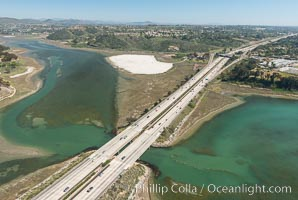 Aerial photo of Batiquitos Lagoon, Carlsbad. The Batiquitos Lagoon is a coastal wetland in southern Carlsbad, California. Part of the lagoon is designated as the Batiquitos Lagoon State Marine Conservation Area, run by the California Department of Fish and Game as a nature reserve. Carlsbad, Callifornia, USA, natural history stock photograph, photo id 30567