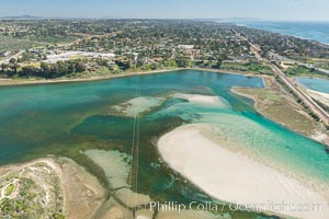 Aerial photo of Batiquitos Lagoon, Carlsbad. The Batiquitos Lagoon is a coastal wetland in southern Carlsbad, California. Part of the lagoon is designated as the Batiquitos Lagoon State Marine Conservation Area, run by the California Department of Fish and Game as a nature reserve. Callifornia, USA, natural history stock photograph, photo id 30568