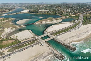 Aerial photo of Batiquitos Lagoon, Carlsbad. The Batiquitos Lagoon is a coastal wetland in southern Carlsbad, California. Part of the lagoon is designated as the Batiquitos Lagoon State Marine Conservation Area, run by the California Department of Fish and Game as a nature reserve. Carlsbad, Callifornia, USA, natural history stock photograph, photo id 30570