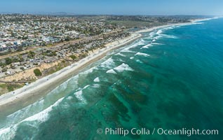 Aerial Photo of Cardiff State Beach and  Underwater Reef System. Encinitas, California, USA, natural history stock photograph, photo id 30834