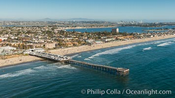 Aerial Photo of Crystal Pier, Pacific Beach. Crystal Pier, 872 feet long and built in 1925, extends out into the Pacific Ocean from the town of Pacific Beach