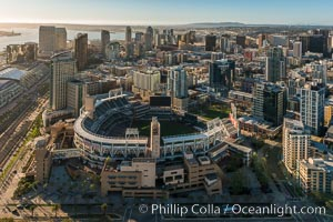 Aerial photo of Downtown San Diego and Petco Park, viewed from the southeast