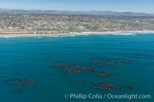 Aerial Photo of Swamis Marine Conservation Area.  Swami's State Marine Conservation Area (SMCA) is a marine protected area that extends offshore of Encinitas in San Diego County. Encinitas, California, USA, natural history stock photograph, photo id 30580