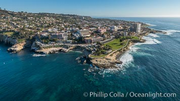 Aerial Photo of La Jolla Cove, Mount Soledad and Scripps Park, La Jolla Coastline., natural history stock photograph, photo id 30740