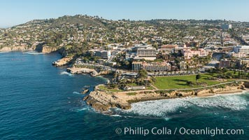 Aerial Photo of La Jolla Cove, Mount Soledad and Scripps Park, La Jolla Coastline