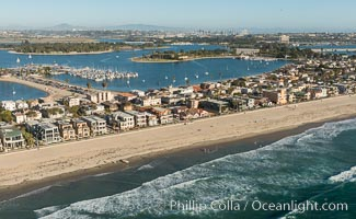 Aerial Photo of Mission Beach and Mission Bay, San Diego, California