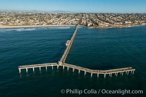 Aerial Photo of Ocean Beach Pier. Ocean Beach Pier, also known as the OB Pier or Ocean Beach Municipal Pier, is the longest concrete pier on the West Coast measuring 1971 feet (601 m) long., natural history stock photograph, photo id 30754