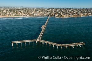 Aerial Photo of Ocean Beach Pier. Ocean Beach Pier, also known as the OB Pier or Ocean Beach Municipal Pier, is the longest concrete pier on the West Coast measuring 1971 feet (601 m) long