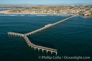 Aerial Photo of Ocean Beach Pier. Ocean Beach Pier, also known as the OB Pier or Ocean Beach Municipal Pier, is the longest concrete pier on the West Coast measuring 1971 feet (601 m) long., natural history stock photograph, photo id 30755