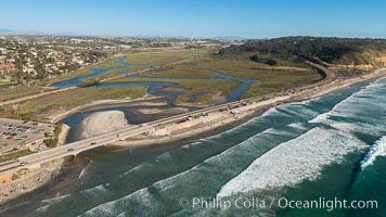 Aerial Photo of Penasquitos Lagoon and Torrey Pines State Beach, natural history stock photograph, photo id 30732