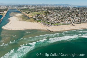 Aerial Photo of San Diego River and Dog Beach. California, USA, natural history stock photograph, photo id 30693