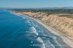 Aerial Photo of San Diego Scripps Coastal SMCA. Blacks Beach and Torrey Pines State Reserve, La Jolla, California