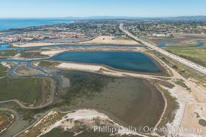 Aerial photo of San Dieguito Lagoon State Marine Conservation Area.  San Dieguito Lagoon State Marine Conservation Area (SMCA) is a marine protected area near Del Mar in San Diego County. California, USA, natural history stock photograph, photo id 30608