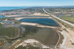 Aerial photo of San Dieguito Lagoon State Marine Conservation Area.  San Dieguito Lagoon State Marine Conservation Area (SMCA) is a marine protected area near Del Mar in San Diego County. Del Mar, California, USA, natural history stock photograph, photo id 30608