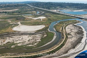 Aerial photo of San Dieguito Lagoon State Marine Conservation Area.  San Dieguito Lagoon State Marine Conservation Area (SMCA) is a marine protected area near Del Mar in San Diego County. California, USA, natural history stock photograph, photo id 30613