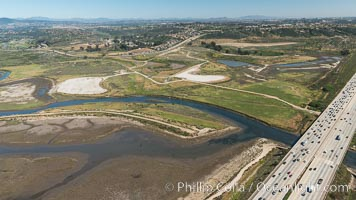 Aerial photo of San Dieguito Lagoon State Marine Conservation Area.  San Dieguito Lagoon State Marine Conservation Area (SMCA) is a marine protected area near Del Mar in San Diego County. California, USA, natural history stock photograph, photo id 30614
