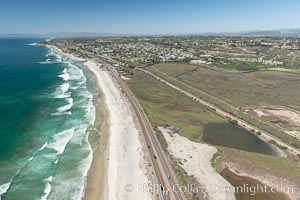 Aerial Photo of San Elijo Lagoon and Cardiff Reef beach. San Elijo Lagoon Ecological Reserve is one of the largest remaining coastal wetlands in San Diego County, California, on the border of Encinitas, Solana Beach and Rancho Santa Fe. USA, natural history stock photograph, photo id 30583