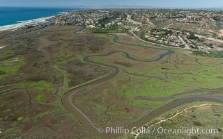 Image 30584, Aerial Photo of San Elijo Lagoon. San Elijo Lagoon Ecological Reserve is one of the largest remaining coastal wetlands in San Diego County, California, on the border of Encinitas, Solana Beach and Rancho Santa Fe. Encinitas, California, USA