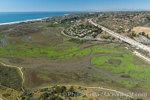 Aerial Photo of San Elijo Lagoon. San Elijo Lagoon Ecological Reserve is one of the largest remaining coastal wetlands in San Diego County, California, on the border of Encinitas, Solana Beach and Rancho Santa Fe. Encinitas, California, USA, natural history stock photograph, photo id 30586