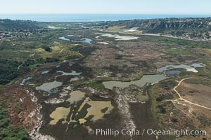 Aerial Photo of San Elijo Lagoon. San Elijo Lagoon Ecological Reserve is one of the largest remaining coastal wetlands in San Diego County, California, on the border of Encinitas, Solana Beach and Rancho Santa Fe. USA, natural history stock photograph, photo id 30588