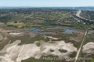 Aerial Photo of San Elijo Lagoon. San Elijo Lagoon Ecological Reserve is one of the largest remaining coastal wetlands in San Diego County, California, on the border of Encinitas, Solana Beach and Rancho Santa Fe. Encinitas, California, USA, natural history stock photograph, photo id 30591
