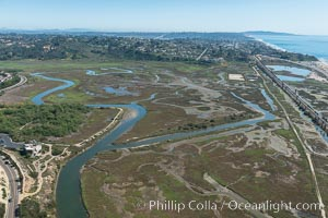 Aerial Photo of San Elijo Lagoon. San Elijo Lagoon Ecological Reserve is one of the largest remaining coastal wetlands in San Diego County, California, on the border of Encinitas, Solana Beach and Rancho Santa Fe. USA, natural history stock photograph, photo id 30593