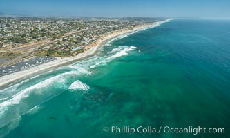 Aerial Photo of Seaside Reef, Cardiff State Beach and Tabletops Reef, Solana Beach, California