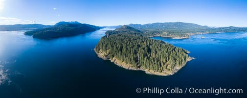 Seymour Narrows, between Vancouver Island and Quadra Island, Seymour Narrows is about 750 meters wide and has currents reaching 15 knots.  Aerial photo