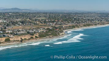 Aerial Photo of Swamis Marine Conservation Area.  Swami's State Marine Conservation Area (SMCA) is a marine protected area that extends offshore of Encinitas in San Diego County. Encinitas, California, USA, natural history stock photograph, photo id 30577