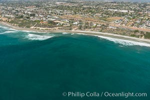 Aerial Photo of Swamis Marine Conservation Area.  Swami's State Marine Conservation Area (SMCA) is a marine protected area that extends offshore of Encinitas in San Diego County. Encinitas, California, USA, natural history stock photograph, photo id 30575