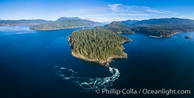 Seymour Narrows with strong tidal currents.  Between Vancouver Island and Quadra Island, Seymour Narrows is about 750 meters wide and has currents reaching 15 knots.  Aerial photo. British Columbia, Canada, natural history stock photograph, photo id 34466
