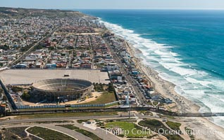 Aerial Photo of Tijuana Bullring and Coastal Tijuana. Tijuana, Baja California, Mexico, natural history stock photograph, photo id 30704