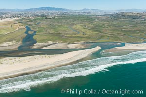 Image 30647, Aerial Photo of Tijuana River Mouth SMCA.  Tijuana River Mouth State Marine Conservation Area borders Imperial Beach and the Mexican Border. Imperial Beach, California, USA