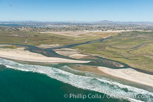 Aerial Photo of Tijuana River Mouth SMCA.  Tijuana River Mouth State Marine Conservation Area borders Imperial Beach and the Mexican Border. Imperial Beach, California, USA, natural history stock photograph, photo id 30648