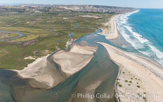 Aerial Photo of Tijuana River Mouth SMCA.  Tijuana River Mouth State Marine Conservation Area borders Imperial Beach and the Mexican Border. Imperial Beach, California, USA, natural history stock photograph, photo id 30654