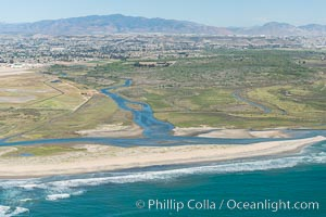 Aerial Photo of Tijuana River Mouth SMCA.  Tijuana River Mouth State Marine Conservation Area borders Imperial Beach and the Mexican Border. Imperial Beach, California, USA, natural history stock photograph, photo id 30656