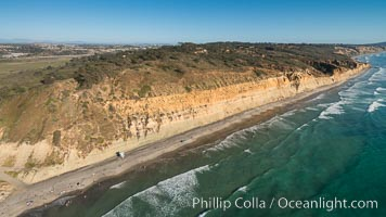 Torrey Pines seacliffs, rising up to 300 feet above the ocean, stretch from Del Mar to La Jolla. On the mesa atop the bluffs are found Torrey pine trees, one of the rare species of pines in the world., natural history stock photograph, photo id 30733