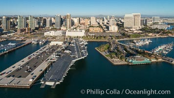 Downtown San Diego and USS Midway. The USS Midway was a US Navy aircraft carrier, launched in 1945 and active through the Vietnam War and Operation Desert Storm, as of 2008 a museum along the downtown waterfront in San Diego
