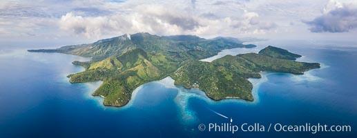 Aerial View of Gau Island, Fiji. Gau Island, Lomaiviti Archipelago, Fiji, natural history stock photograph, photo id 34702