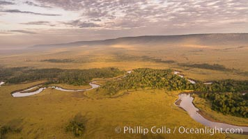 Aerial view of the Mara River, Maasai Mara, Kenya.  Photo taken while hot air ballooning at sunrise. Maasai Mara National Reserve, Kenya, natural history stock photograph, photo id 29809