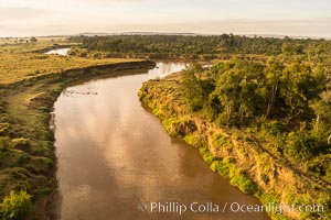 Aerial view of the Mara River, Maasai Mara, Kenya.  Photo taken while hot air ballooning at sunrise. Maasai Mara National Reserve, natural history stock photograph, photo id 29815