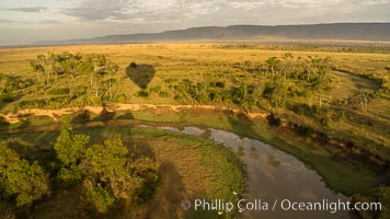 Aerial view of the Mara River, Maasai Mara, Kenya.  Photo taken while hot air ballooning at sunrise. Maasai Mara National Reserve, natural history stock photograph, photo id 29819