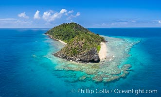 Aerial View of Namena Island, Fiji. Namena Marine Reserve, natural history stock photograph, photo id 34685