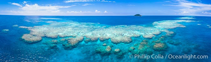 Aerial View of Namena Marine Reserve and Coral Reefs, Namena Island, Fiji., natural history stock photograph, photo id 34680